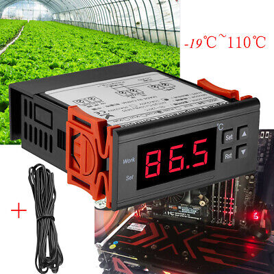10a 110v Digital Temperature Controller Temp Sensor Thermostat Control Relay Usa
