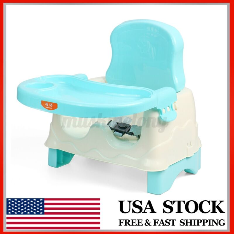 Portable Baby Booster Seat Toddler Safety Eating Chair Tray Adjustable Width US