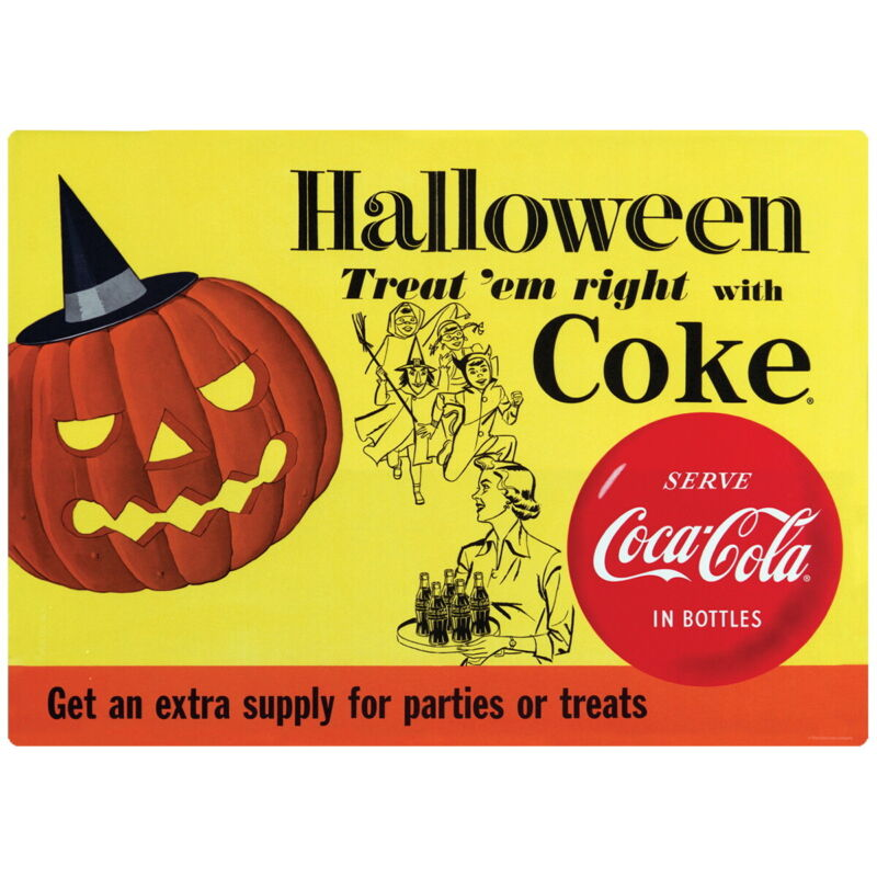 Coca-Cola 1956 Halloween Treat Em Right Wall Decal 24 x 17 Vintage Style Kitchen
