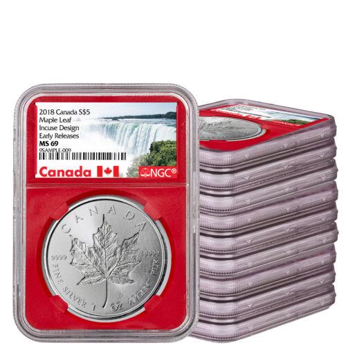 Lot-10) 2018 Canada 1 oz Silver Maple Leaf Incuse $5 NGC MS69 ER W/Box SKU53632