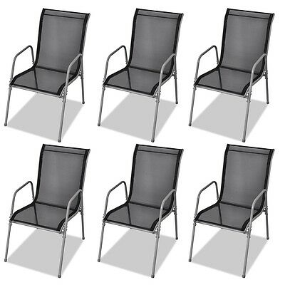 6x Stapelstuhl Gartenstuhl Balkonstuhl stapelbar Stahl Textilene Stühle Schwarz