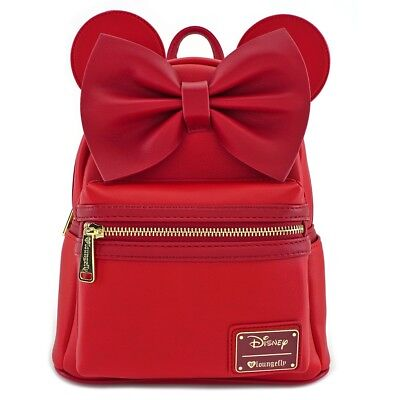 Loungefly Disney Minnie Mouse Red Ears Mini Faux Leather Bag Backpack WDBK0523 - Mini Mouse Ears