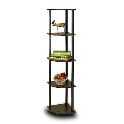 Furinno 5 Tier Lima Corner Display Rack Shelf In Espresso-Black 99811EX/BK New