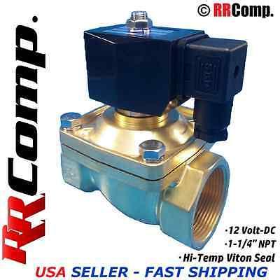 1-14 Npt 12-volt Dc Brass Electric Solenoid Valve Seal Viton Airwateroil