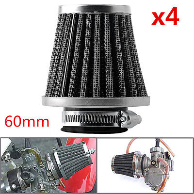 4x 60mm Inlet Cold Air Intake Tapered Chrome Pod Motorcycle Air Filters Cleaner