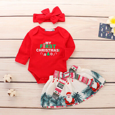 My First Christmas Romper Santa Skirt Outfits Xmas Dress 3pcs Set for Girl Baby - Santa Outfits For Toddlers