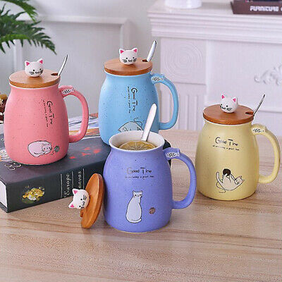 420ML Ceramic Coffee Mug Tea Milk Water Cup Handle + Spoon + Lid Christmas Gift Christmas Coffee Cup