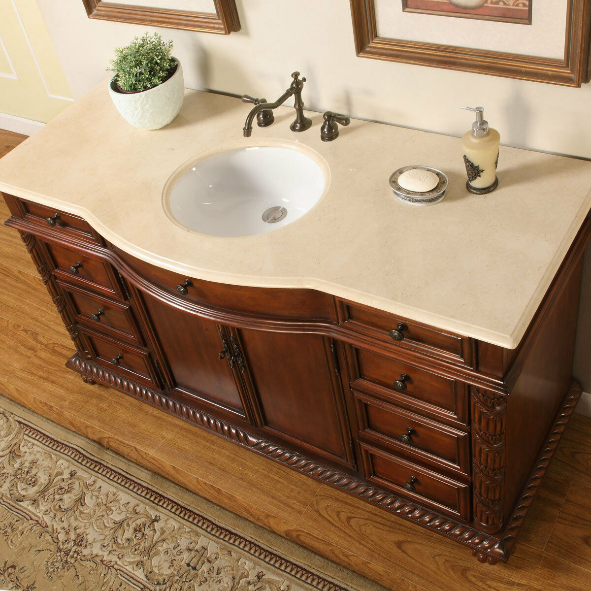 60 Inch Lavatory Single Sink Bathroom Vanity Marble Stone Top Cabinet 0268CM