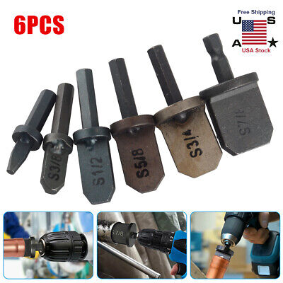 6pcs Air Conditioner Copper Tube Expander Swaging Tool Drill Bit Set Flaring Set