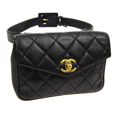CHANEL Quilted CC Logos Waist Bum Bag Black Leather Vintage RK13925c