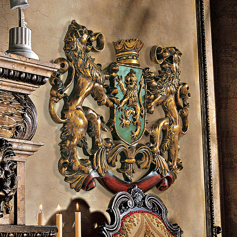 """Mythological Coat of Arms Royalty Plaque Majestic Crown 22.5"""" Wall Sculpture NEW"""