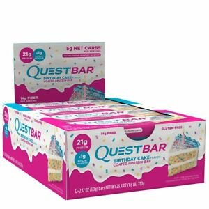 Quest Nutrition QPBBDC12 Birthday Cake Protein Bars Pack Of 12