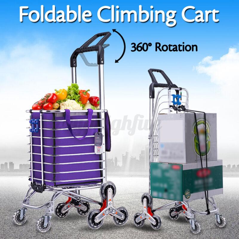 8 Wheels Stair Climbing Cart  w/ Bag Folding Grocery Laundry Shopping Handcart