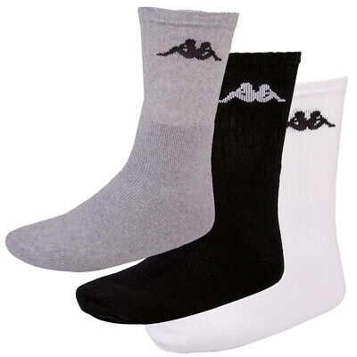 New Kappa Sonotu Men Sports Everyday Socks 3 Pair Pack White Black Grey RRP £20✅