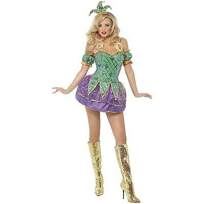 Mardi Gras Jester Costume Adult Harlequin Clown Fancy Dress Outfit