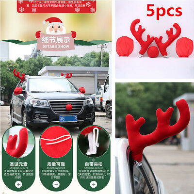 5Pcs Plastic+Plush Antlers+Nose+Mirror Cover Car Costume Christmas Decor Tools](Halloween Partner Costumes)