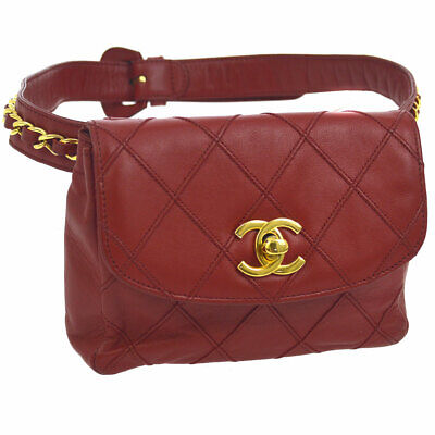 Authentic CHANEL Cosmos Line Quilted CC Chain Bum Bag Red Leather AK33169h