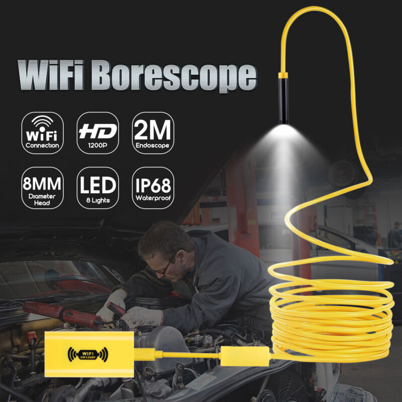 2M 8LED Wireless Endoscope WiFi Borescope Inspection Camera For iPhone  A+