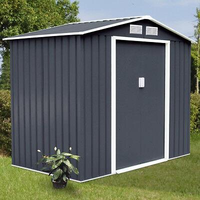 9' X 6' Outdoor Garden Storage Shed Tool House Sliding Door Steel Dark Gray New
