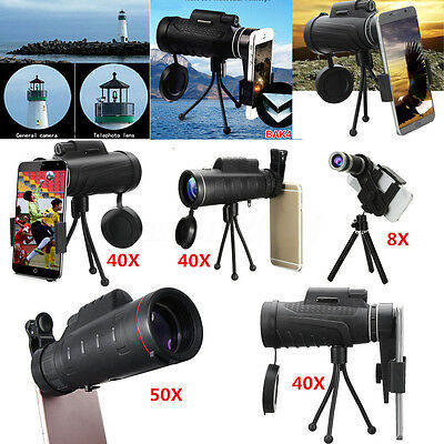 HD Monocular Zoom Telescope Camera Lens + Tripod +Chip For iPhone 7 7S / Samsung