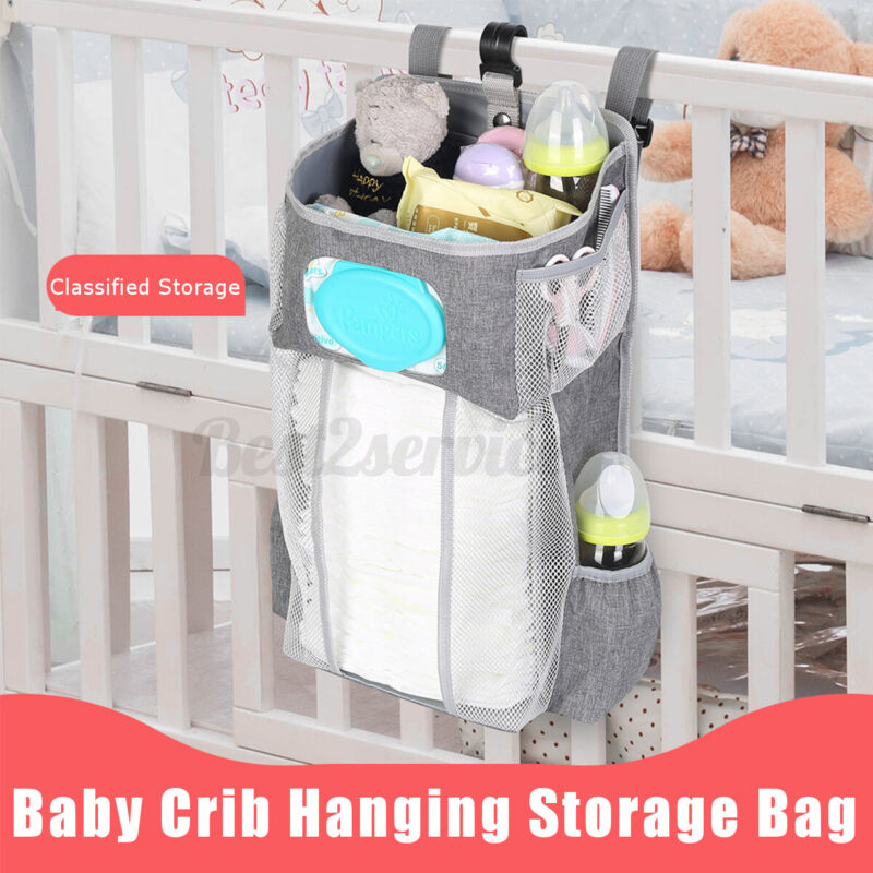 Baby Crib Cot Bed Storage Bag Hanging Pocket Diaper Nappy Clothes Organize