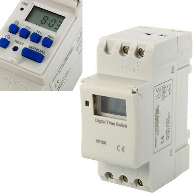 DIN Rail Digital LCD Power Programmable Timer AC 220V 16A Time Switch RelayBI117