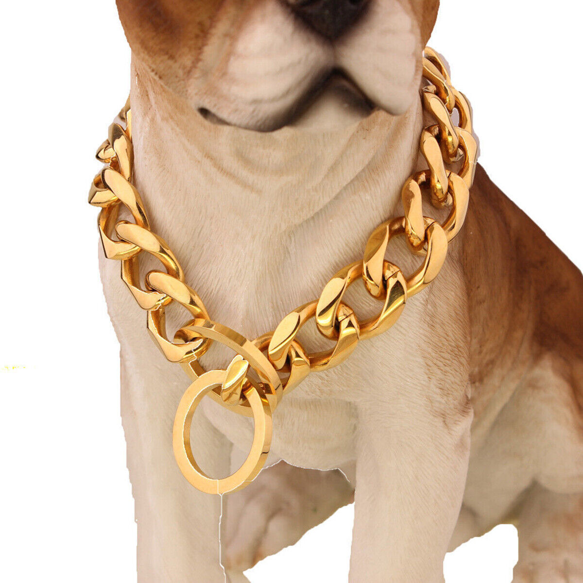 "14""-28"" Pet Dog Stainless Steel Curb Cuban Link 17MM Dog Chain Collar Collars"