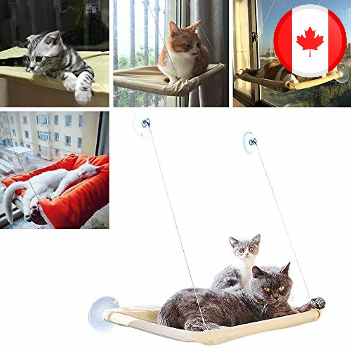 Cat Hammock Window Bed With 4 Strong Suction Cups Window Perches For Pet Kitten  - CA$38.99