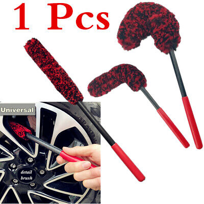 1 Pc Red Soft Wool Blended Fabirc+Lengthen PP Handle Car Wheel Cleaning Brush