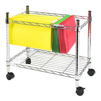 Single Tier Mobile File Cart Metal Rolling Office Paper Holder Organizer