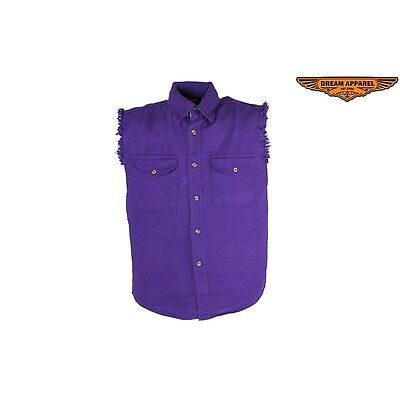 Mens Motorcycle Purple Denim Shirt with Front Button Closure & 2 Pockets NEW