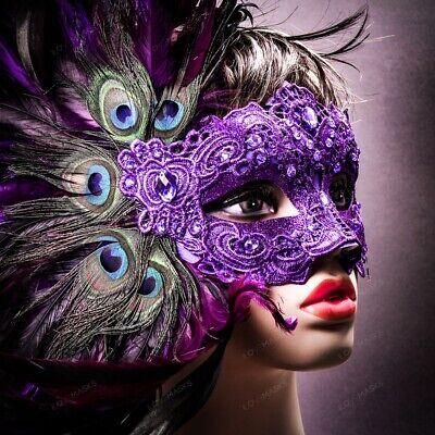 Mardi Gras Venice (Purple Venice Carnival Peacock Feather Masquerade Venetian Mardi Gras Party)