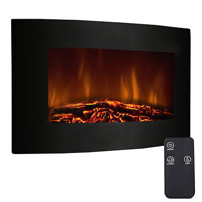 2KW Wall Mounted Electric Fire Fireplace Curved Glass Heater Remote Control LED