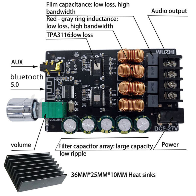 2x100W Digital 1002 HIFI TPA3116 AUX+ bluetooth 5.0 Amplifier Stereo Board AMP