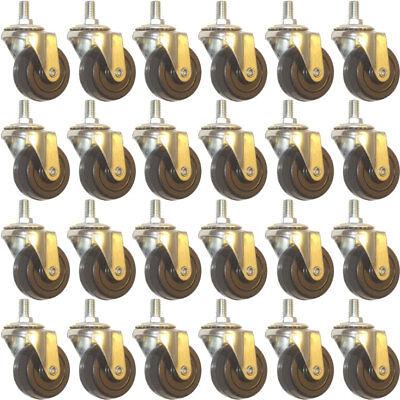 24 Pack Swivel Stem Caster 2 Hard Rubber Wheel 1.1 Tall Threaded Stem