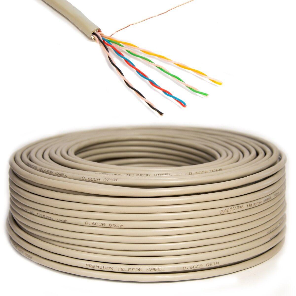 50m Telefon Kabel 4x2x0,6mm 8 Adern Telefonkabel Leitung Verlegekabel Verlege