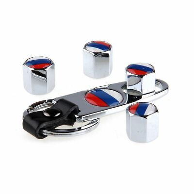 Russian Flag Design Car Wheel Tire Valve Stem Air Caps Dust Cover + Keychain Designer Tire Cover Flag