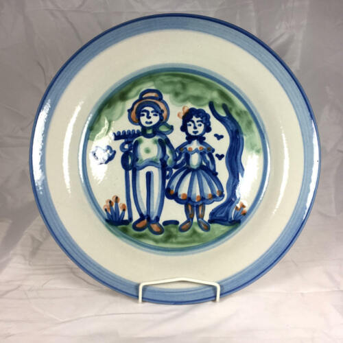 """Fantastic $63 M. A. Hadley Country Scenes Farmer & Wife 13"""" Large Platter"""