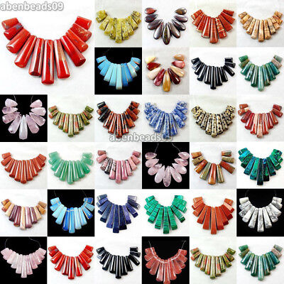 Flatback 11pcs Gemstone Graduated Pendant Stick Beads Set For Necklace Wholesale
