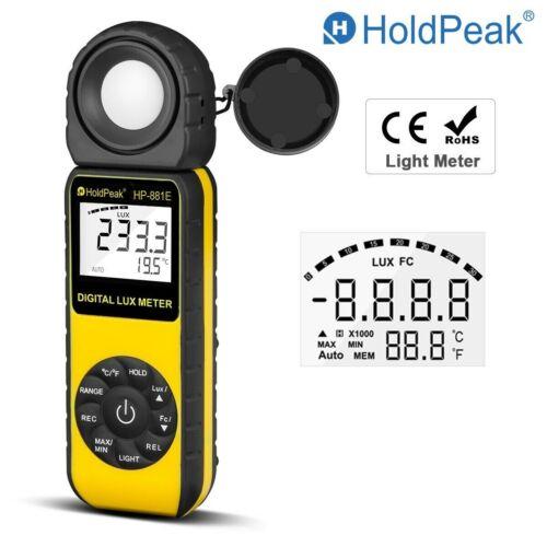 Digital Luxmeter Light Meter Luminometer 300,000 Lux Photometer Temperature Tool