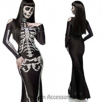 leton Gothic Womens Horror Scary Halloween Dress Up Costume (Dress Up Skeleton Halloween)