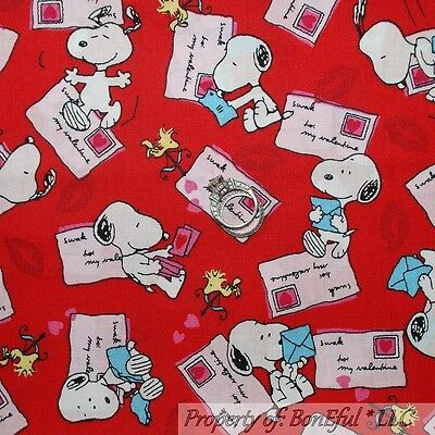 BonEful Fabric FQ Cotton Quilt VTG Red White Pink Sm Snoopy Love Heart Valentine