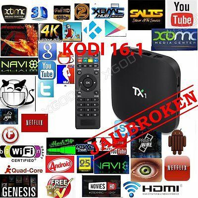 KODI(XBMC) TX1 Quad Core Android Smart TV Box Fully Loaded Free Sports Movies UK