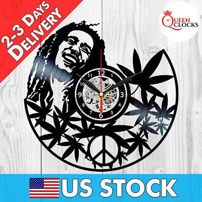Bob Marley Wall Art Vinyl Record Clock Black Rasta Home Decor Best Gifts for