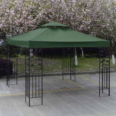 3Mx3M Gazebo Roof Top Cover Patio Canopy Replacement Green 2-Tier