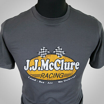 J J Mcclure Rennsport Retro Film T-Shirt Grau The Cannonball Run Burt Reynolds