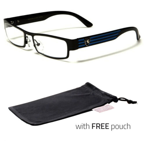 Small Women Clear Lens Square Rx Sunglasses Black Silver Eyeglasses Blue Pouch