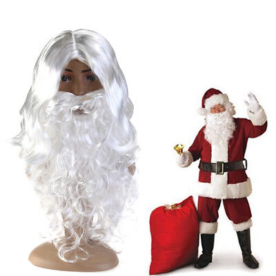 1x Santa Beard And Wig Set Christmas Santa Claus Costume Cosplay Wig White Curly](White Beard Wig)