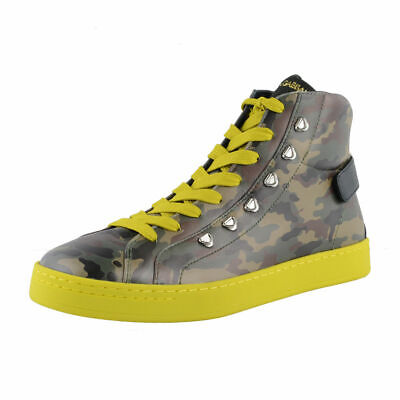 Dolce & Gabbana Camouflage Hi Top Leather Fashion Sneakers Shoes 7 7.5 9 9.5 10