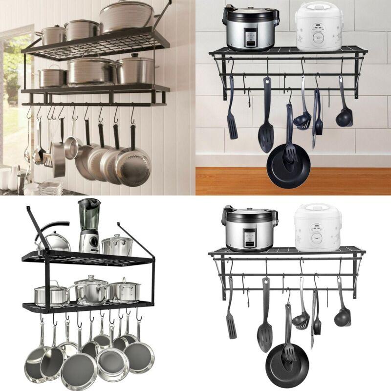 Hanging Iron Rack Storage Kitchen Organizer Pot Pan Ceiling Holder Shelf +  Hooks